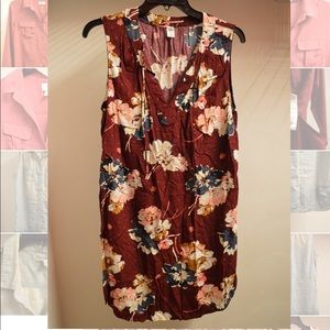 Maroon Old Navy easy summer floral tied sundress